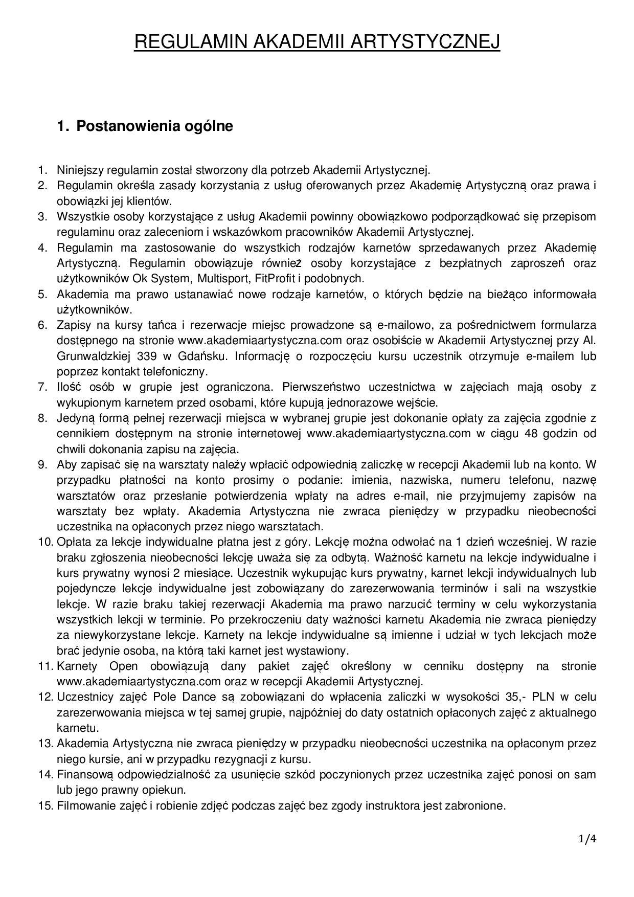 Regulamin Akademia Artystyczna