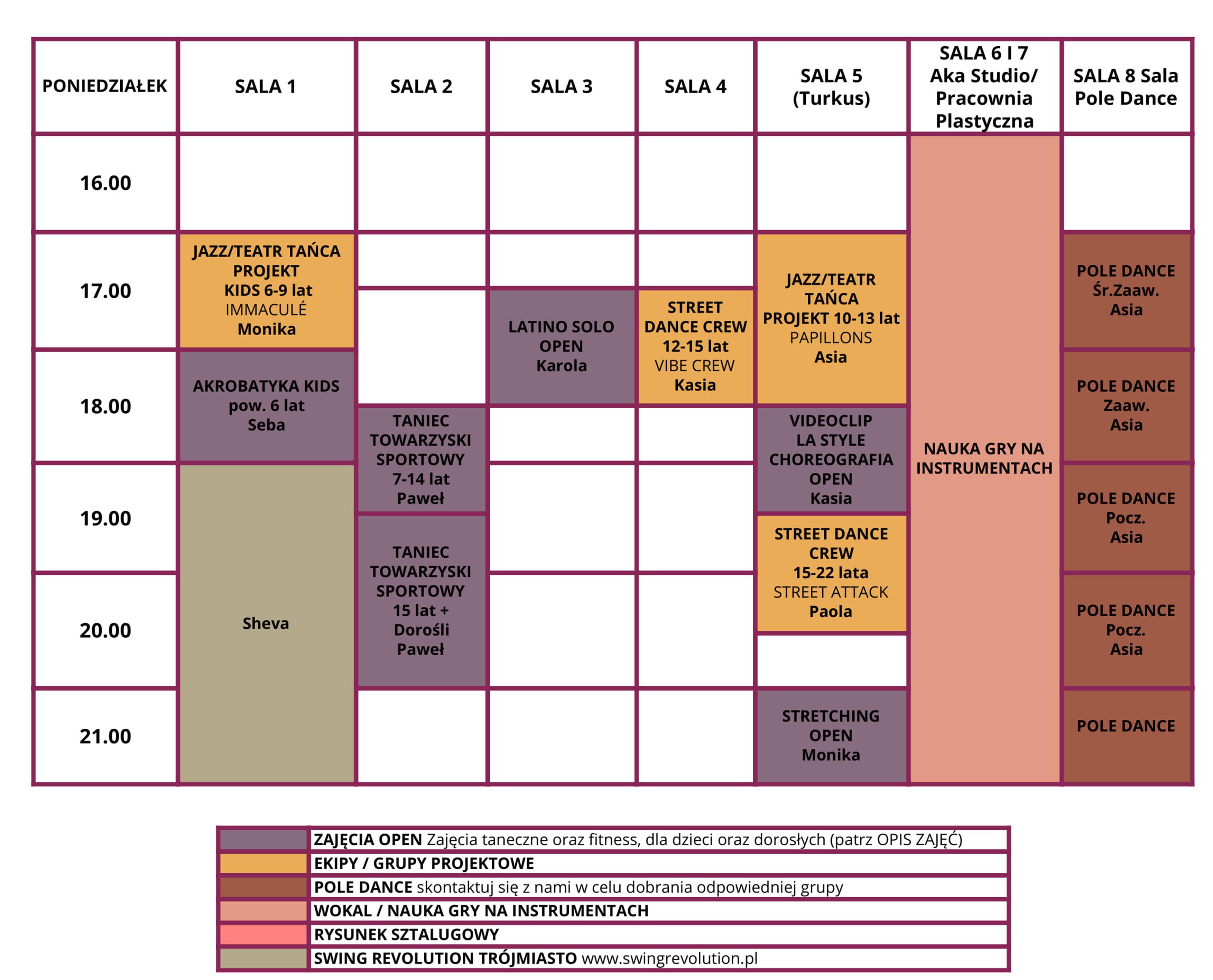 Poniedziałek grafik Akademia Artystyczna